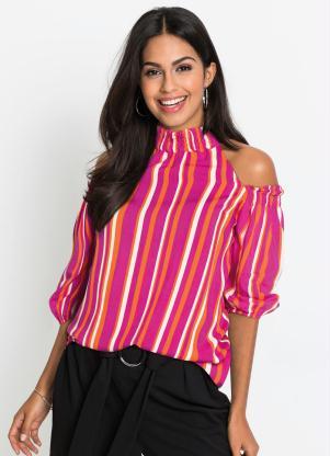 Blusa Ombros Vazados (Listrada Rosa Pink)