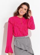 Blusa Pink com Babados e Botões Quintess