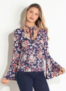 Blusa Quintess Floral com Manga Sino e Gola Laço