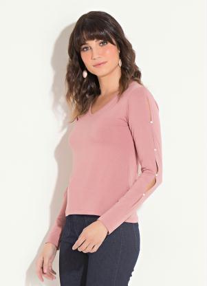 f7e5427b5 Blusa Quintess Rosê com Pérolas Aplicadas - Quintess