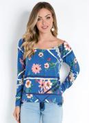 Blusa Raglan Floral Azul com Decote Canoa