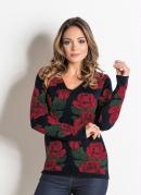 Blusa em Tricot Rosas com Decote V