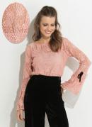 Blusa Rosê com Detalhe Contrastante Quintess