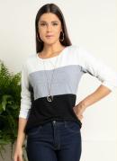Blusa Tricolor Mescla com Recortes