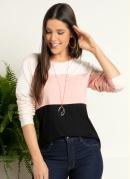 Blusa Tricolor Rosa com Recortes