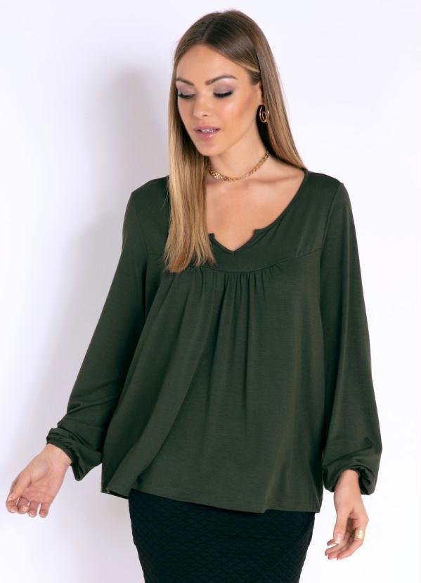 Blusa (Verde) com Mangas Longa e Elástico no Punho