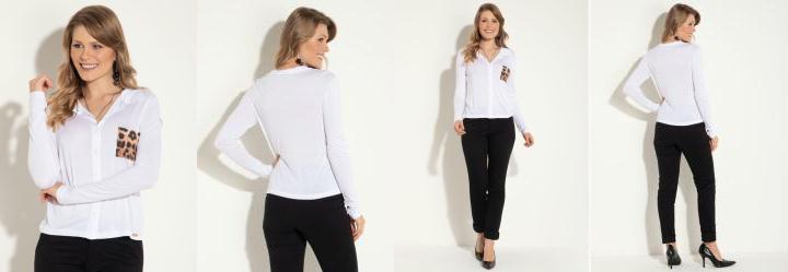 c31e0eda087d Score: 0.0 Camisa em Malha Branca com Bolso Estampado