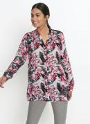 Camisa Gola Padre Alongada Floral Rosa