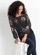 Blusa Ombro a Ombro Floral/Preto