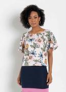 Blusa Ombro a Ombro Floral Rosa Moda Evangélica