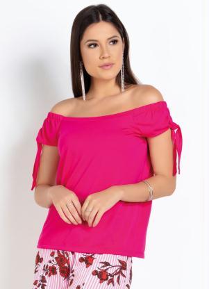 Blusa (Pink) Ciganinha com Amarração