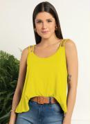 Blusa Amarela com Alças Duplas