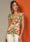 Blusa com Ajuste em Ilhóses Tropical Amarela