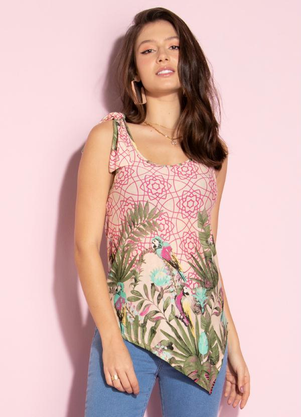 Blusa com Barra Assimétrica (Tropical Pink)