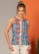 Blusa com Cordel e Recorte Frontal Étnico Azul