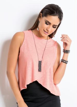 Blusa com Transpasse Frontal (Rosa Neon) Quintess