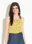 Blusa com Tule no Ombro Floral Amarelo Quintess