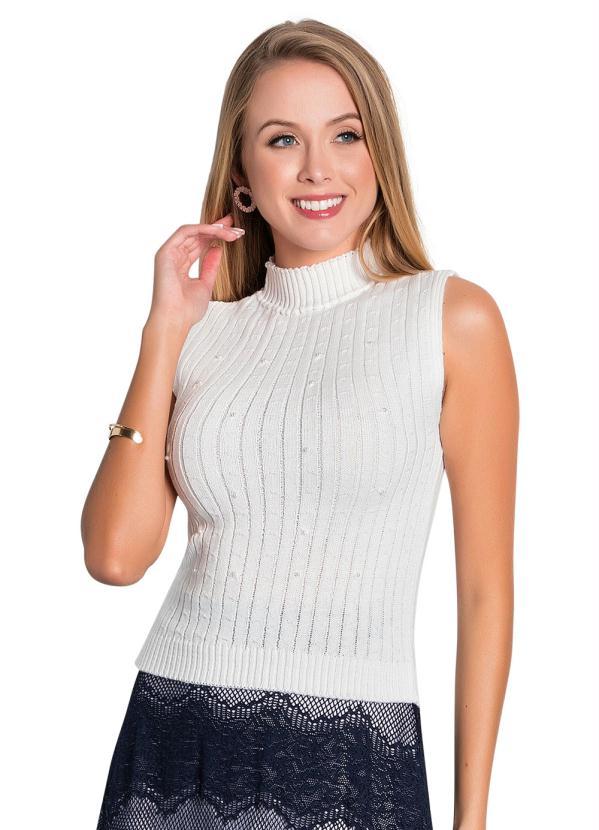 Blusa de Tricô (Off White) Moda Evangélica