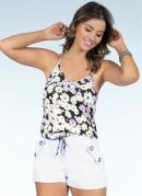 Blusa Floral Lilás com Elástico na Barra