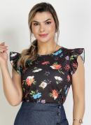 Blusa Floral Preta com Babado Moda Evangélica