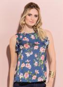 Blusa Floral Quintess com Babado Frente e Costas