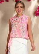 Blusa Floral Rosa com Faixa para Amarrar