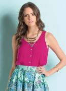 Blusa Mullet com Botões Frontais Pink