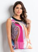 Blusa Quintess de Chiffon com Estampa Abstrata