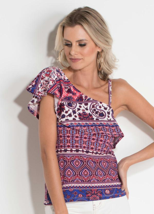 Blusa Quintess (Estampada) Decote Assimétrico