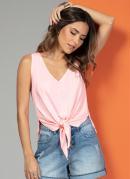 Blusa Regata Rosa Neon com Nó na Frente