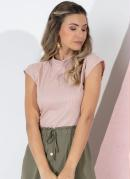Blusa Rosa Canelada com Gola Alta