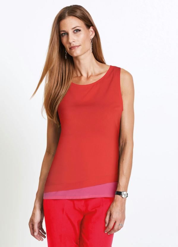 Blusa sem Mangas com Barra Dupla (Vermelha)