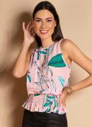 Blusa sem Mangas Floral Rosa com Barra Franzida