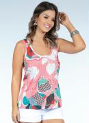 Blusa Tropical Rosê com Fenda nas Costas