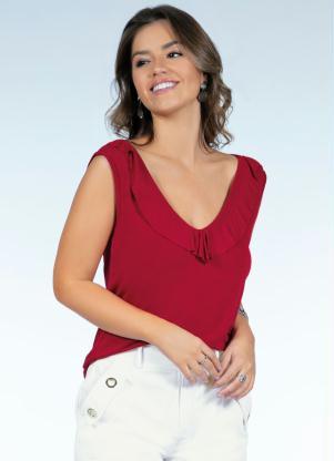 Blusa (Vermelha) com Babados na Frente