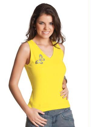 Blusa Regata (Amarela) com Aplique