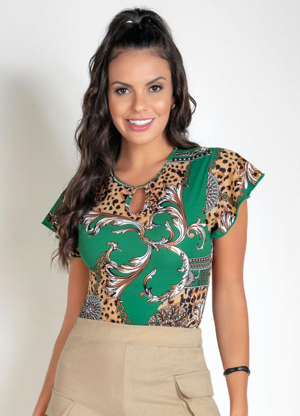 Body (Animal Print) com Gota no Decote
