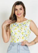 Body Floral Amarelo sem Manga Moda Evangélica