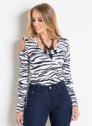 Body Manga Longa com Vazado nos Ombros Zebra