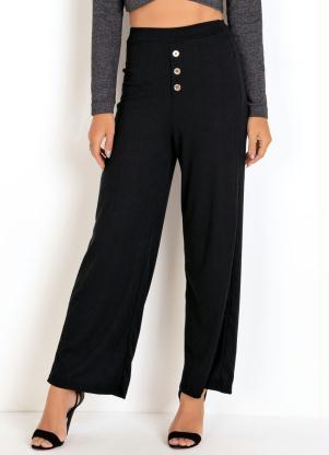 Calça Pantalona (Preta) com Botões Decorativos