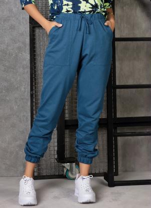 Calça de Moletinho (Azul Petróleo) com Bolsos