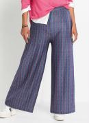 Calça Cropped Pantalona Listrada Azul