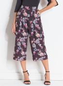 Pantacourt Floral Dark com Cintura Alta