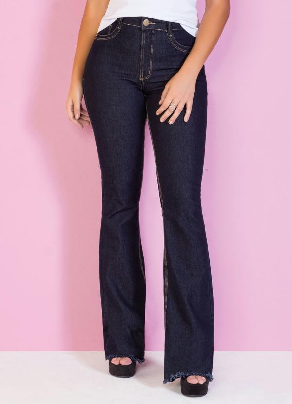 Calça Flare (Jeans Escura) Barra Desfiada