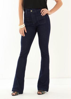 Calça Flare (Jeans Escuro)