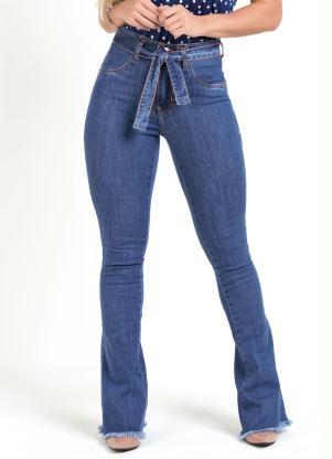 Calça Flare (Jeans) Sawary com Faixa e Amarração
