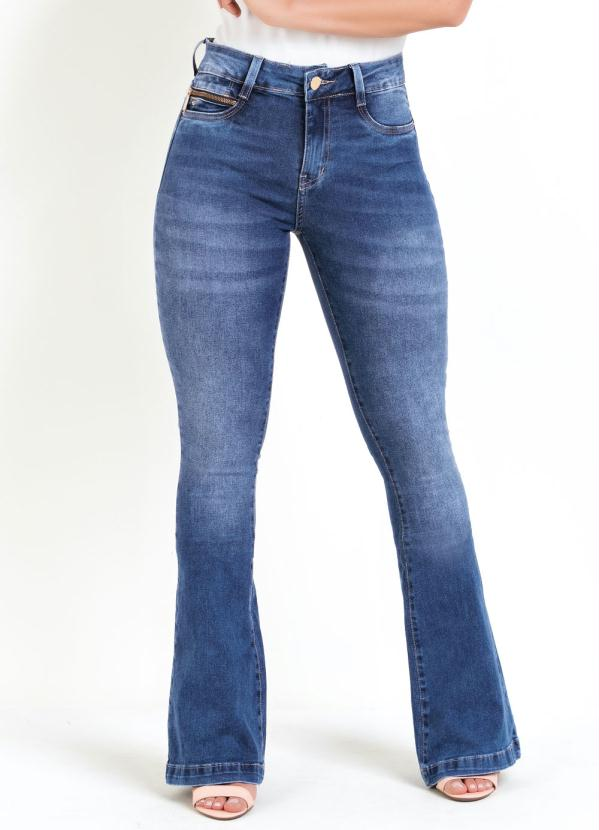 Calça Flare (Jeans) Sawary com Zíper Decorativo