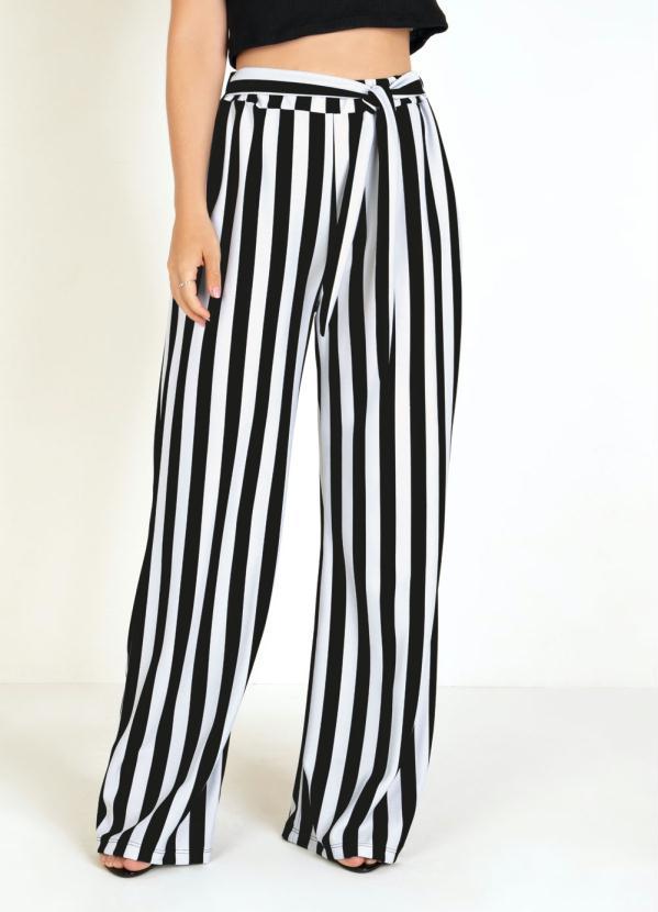 Calça Pantalona (Listrada) e Amarração na Cintura