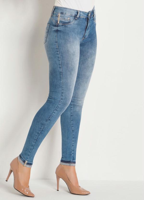 Calça Cigarrete com Strass (Jeans) Sawary