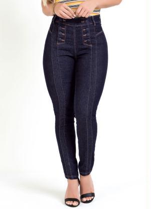 Calça Cigarrete (Jeans Escura) Sawary com Botões
